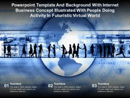 Template With Internet Business Concept Illustrated With People Doing Activity In Futuristic Virtual World