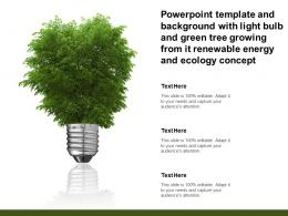 Template With Light Bulb And Green Tree Growing From It Renewable Energy And Ecology Concept