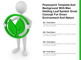 Template With Man Holding Leaf Symbol Great Concept For Green Environment And Nature