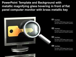 Template With Metallic Magnifying Glass Hovering In Front Of Flat Panel Computer Monitor With Brass Metallic Key