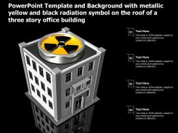 Template With Metallic Yellow Black Radiation Symbol On The Roof Of A Three Story Office Building