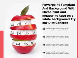 Template With Mixed Fruit And Measuring Tape On A White Background Try Our Diet Concept