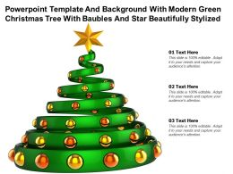 Template With Modern Green Christmas Tree With Baubles And Star Beautifully Stylized