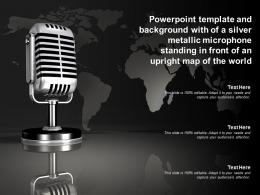 Template With Of A Silver Metallic Microphone Standing In Front Of An Upright Map Of World