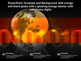 Template With Orange And Black Globe With A Glowing Orange Banner With Soft Binary Digits