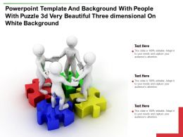 Template With People With Puzzle 3d Very Beautiful Three Dimensional On White Background