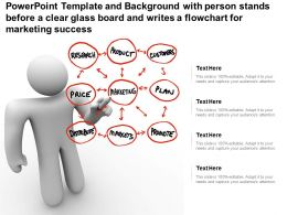 Template With Person Stands Before A Clear Glass Board And Writes A Flowchart For Marketing Success