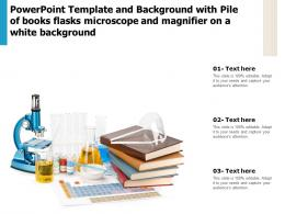 Template With Pile Of Books Flasks Microscope And Magnifier On A White Background