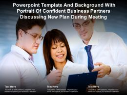 Template With Portrait Of Confident Business Partners Discussing New Plan During Meeting