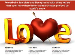 Template With Shiny Letters That Spell Love Where Letter As Heart Shape Pierced By Cupids Arrow