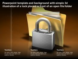 Template With Simple 3d Illustration Of A Lock Placed In Front Of An Open File Folder