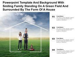 Template With Smiling Family Standing On A Green Field And Surrounded By The Form Of A House