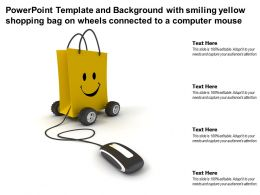Template With Smiling Yellow Shopping Bag On Wheels Connected To A Computer Mouse