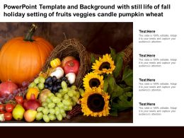 Template With Still Life Of Fall Holiday Setting Of Fruits Veggies Candle Pumpkin Wheat