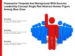 Template With Success Leadership Concept Single Red Abstract Human Figure Among Blue Ones