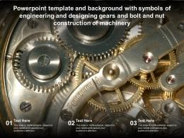 Template With Symbols Of Engineering Designing Gears Bolt Nut Construction Of Machinery
