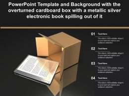 Template With The Overturned Cardboard Box With A Metallic Silver Electronic Book Spilling Out Of It