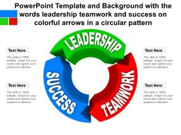 Template With The Words Leadership Teamwork And Success On Colorful Arrows In A Circular Pattern