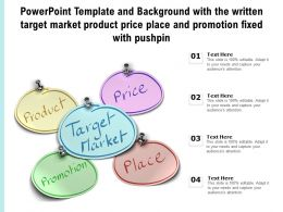Template With The Written Target Market Product Price Place And Promotion Fixed With Pushpin