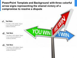 Template With Three Colorful Arrow Signs Representing Shared Victory Of A Compromise To Resolve A Dispute
