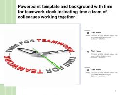 Template With Time For Teamwork Clock Indicating Time A Team Of Colleagues Working Together