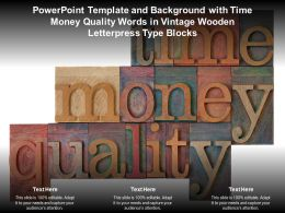 Template With Time Money Quality Words In Vintage Wooden Letterpress Type Blocks