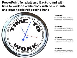 Template With Time To Work On White Clock With Blue Minute And Hour Hands Red Second Hand