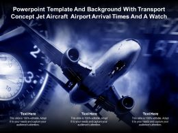 Template With Transport Concept Jet Aircraft Airport Arrival Times And A Watch
