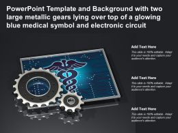 Template With Two Large Metallic Gears Lying Over Top Of A Glowing Blue Medical Symbol Electronic Circuit