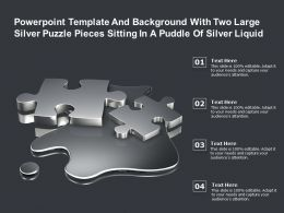 Template With Two Large Silver Puzzle Pieces Sitting In A Puddle Of Silver Liquid