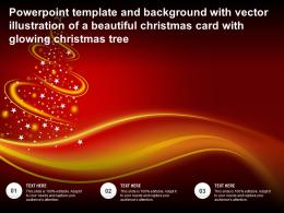 Template With Vector Illustration Of A Beautiful Christmas Card With Glowing Christmas Tree