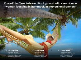 Template With View Of Nice Woman Lounging In Hammock In Tropical Environment