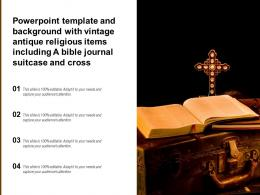 Template With Vintage Antique Religious Items Including A Bible Journal Suitcase And Cross