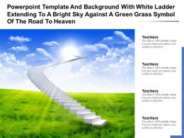 Template With White Ladder Extending To A Bright Sky Against A Green Grass Symbol Of Road To Heaven