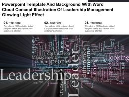 Template With Word Cloud Concept Illustration Of Leadership Management Glowing Light Effect