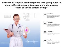 Template With Young Nurse In White Uniform Transparent Glasses A Stethoscope Clicks On Virtual Buttons Collage