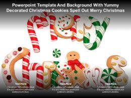 Template With Yummy Decorated Christmas Cookies Spell Out Merry Christmas