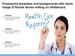 Templates And Backgrounds With Stock Image Of Female Doctor Writing On Whiteboard