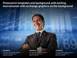 Templates With Smiling Businessman With Exchange Graphics On The Background