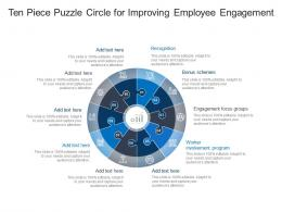 Ten Piece Puzzle Circle For Improving Employee Engagement