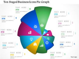 Ten Staged Business Icons Pie Graph Powerpoint Template
