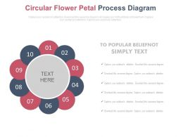 Ten Staged Circular Petal Process Diagram Powerpoint Slides