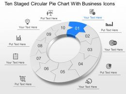 Ten Staged Circular Pie Chart With Business Icons Powerpoint Template Slide