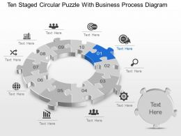 Ten Staged Circular Puzzle With Business Process Diagram Powerpoint Template Slide