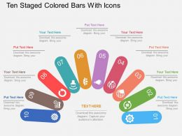 Ten Staged Colored Bars With Icons Flat Powerpoint Design