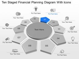 Ten Staged Financial Planning Diagram With Icons Powerpoint Template Slide