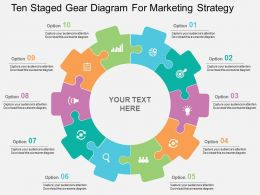 Ten Staged Gear Diagram For Marketing Strategy Flat Powerpoint Design