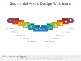 Ten Staged Sequential Arrow Design With Icons Flat Powerpoint Design