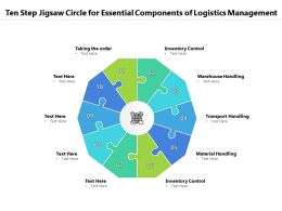 Ten Step Jigsaw Circle For Essential Components Of Logistics Management