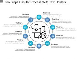 Ten Steps Circular Process With Text Holders And Gear Icon